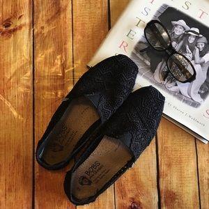 BOBS Black Lace Slip Ons.